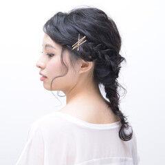 大人女子 ナチュラル 編みおろしヘア ナチュラル可愛い ヘアスタイルや髪型の写真・画像