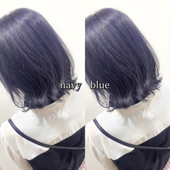 ネイビーブルー ヘアカラー ボブ コリアンネイビー ヘアスタイルや髪型の写真・画像