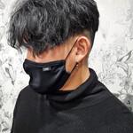 メンズヘア ブラックグレー ツイスパ ショート