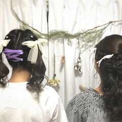 ハーフアップ ガーリー ツインテール ヘアアレンジ ヘアスタイルや髪型の写真・画像