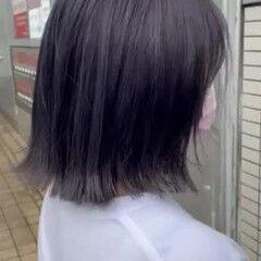 ラベンダーアッシュ ラベンダーグレージュ ボブ 外ハネボブ ヘアスタイルや髪型の写真・画像