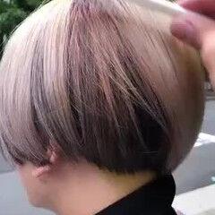 ブリーチカラー ショート ペールピンク ハイトーンカラー ヘアスタイルや髪型の写真・画像