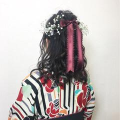袴 和服 ヘアアレンジ フェミニン ヘアスタイルや髪型の写真・画像