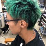 メンズカラー ショート グリーン メンズヘア