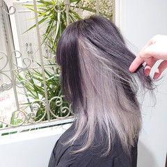 インナーカラー ホワイトカラー ミディアム ブリーチカラー ヘアスタイルや髪型の写真・画像