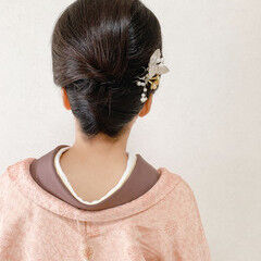フェミニン 訪問着 ミディアム 着物 ヘアスタイルや髪型の写真・画像