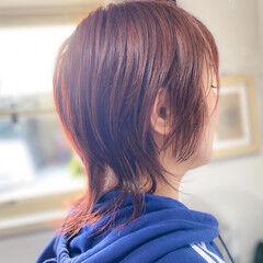 ミディアム ベリーピンク ピンクベージュ ナチュラル ヘアスタイルや髪型の写真・画像