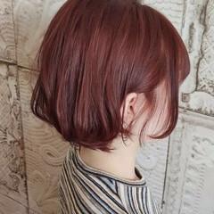 ピンクヘア ボブ ガーリー まとまるボブ ヘアスタイルや髪型の写真・画像