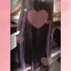 ハイライト カラフルカラー パープル ロング ヘアスタイルや髪型の写真・画像