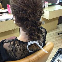 デート 編み込み 色気 涼しげ ヘアスタイルや髪型の写真・画像
