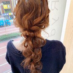 結婚式ヘアアレンジ お呼ばれヘア ヘアアレンジ 編みおろし ヘアスタイルや髪型の写真・画像