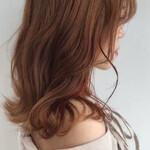 ガーリー ベージュ 透明感カラー セミロング
