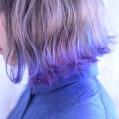 裾カラー ボブ ショートボブ ユニコーン ヘアスタイルや髪型の写真・画像