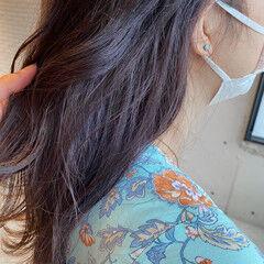 ミディアム ラベンダーカラー ラベンダーアッシュ ラベンダーグレージュ ヘアスタイルや髪型の写真・画像