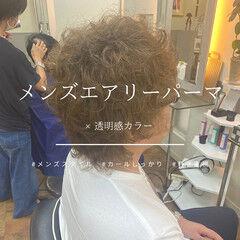 ナチュラル メンズカット パーマ 無造作パーマ ヘアスタイルや髪型の写真・画像