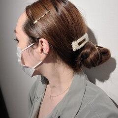 ロング ヘアアレンジ 簡単ヘアアレンジ ナチュラル ヘアスタイルや髪型の写真・画像