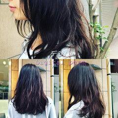 セミロング ヘアアレンジ デジタルパーマ ナチュラルデジパ ヘアスタイルや髪型の写真・画像