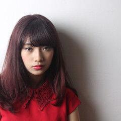 ピンクアッシュ ナチュラル セミロング ラベンダーピンク ヘアスタイルや髪型の写真・画像