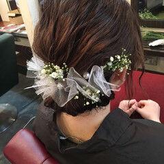 ヘアアレンジ ミディアム 成人式 ギブソンタック ヘアスタイルや髪型の写真・画像