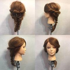 フィッシュボーン ロープ編み ヘアアレンジ ラフ ヘアスタイルや髪型の写真・画像