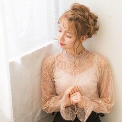 フェミニン 上品 裏編み込み 簡単ヘアアレンジ ヘアスタイルや髪型の写真・画像
