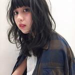 黒髪 艶髪 パーマ 前髪あり