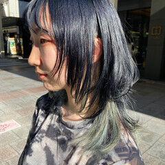 ブリーチカラー モード ブリーチ マッシュウルフ ヘアスタイルや髪型の写真・画像