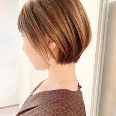 デート ショートボブ ショート ナチュラル ヘアスタイルや髪型の写真・画像
