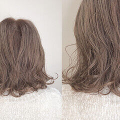切りっぱなしボブ 簡単ヘアアレンジ ミディアム シルクベージュ ヘアスタイルや髪型の写真・画像