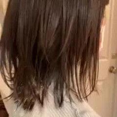 ゆるふわ 切りっぱなしボブ アンニュイほつれヘア シースルーバング ヘアスタイルや髪型の写真・画像
