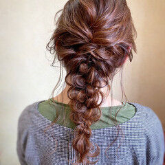 パーティ ヘアアレンジ 編みおろし 結婚式 ヘアスタイルや髪型の写真・画像