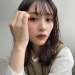 シースルーバング ミディアム 韓国風ヘアー ガーリー