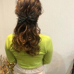 ヘアアレンジ ハーフアップ ヘアセット 結婚式 ヘアスタイルや髪型の写真・画像