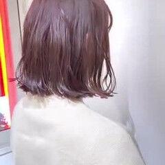 外ハネボブ 切りっぱなしボブ ピンクヘア ボブ ヘアスタイルや髪型の写真・画像