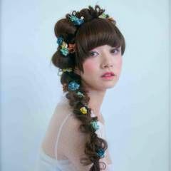 編み込み ヘアアレンジ ガーリー ヘアスタイルや髪型の写真・画像