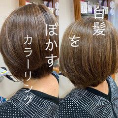 ナチュラル 髪質改善カラー 大人カラー ショート ヘアスタイルや髪型の写真・画像