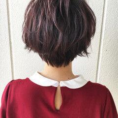 ストリート ショートボブ ベリーピンク エアリー ヘアスタイルや髪型の写真・画像