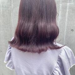 ラベンダーピンク ピンクバイオレット モテボブ フェミニン ヘアスタイルや髪型の写真・画像