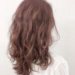 ピンクラベンダー ガーリー セミロング 巻き髪