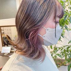 フェミニン ボブ ピンク ラベンダー ヘアスタイルや髪型の写真・画像