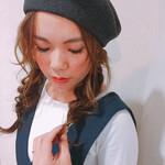ベレー帽 編み込み ロング ナチュラル