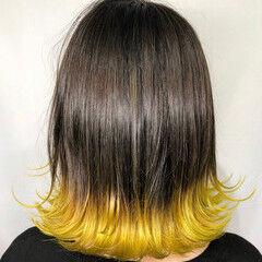 フェミニン ボブ イエロー 裾カラー ヘアスタイルや髪型の写真・画像