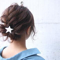 ナチュラル 簡単ヘアアレンジ バレンタイン お団子 ヘアスタイルや髪型の写真・画像
