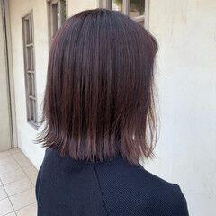 切りっぱなしボブ ピンクブラウン ナチュラル ベリーピンク ヘアスタイルや髪型の写真・画像