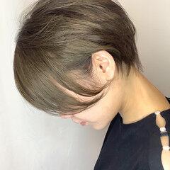 ナチュラル ショートヘア ヘアカラー ミントアッシュ ヘアスタイルや髪型の写真・画像