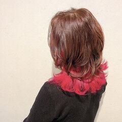 ピンクバイオレット インナーカラー ミディアム モード ヘアスタイルや髪型の写真・画像