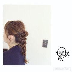 ロング 編み込み ヘアアレンジ ギブソンタック ヘアスタイルや髪型の写真・画像