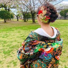セミロング フェミニン ヘアセット 和装ヘア ヘアスタイルや髪型の写真・画像