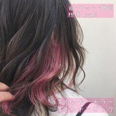 アンニュイ インナーカラー ピンクアッシュ インナーピンク ヘアスタイルや髪型の写真・画像