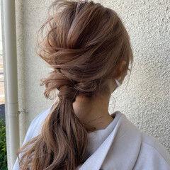 フェミニン ロング 簡単ヘアアレンジ セルフヘアアレンジ ヘアスタイルや髪型の写真・画像
